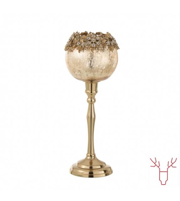porta - velas com pé dourado 33 cm